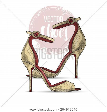 Vector color womens reptile leather sandals with stiletto heel and a thin ankle strap