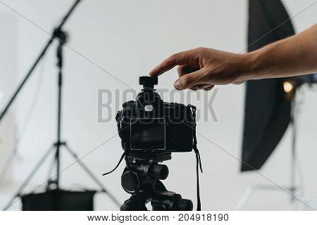 Digital Photo Camera On Tripod
