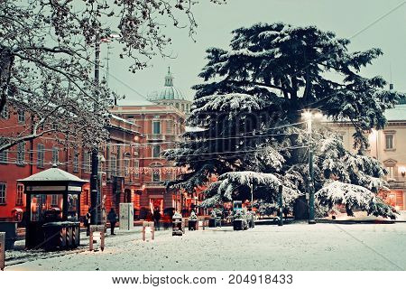 Square near palace of Pilotta in Parma view on Giuseppe Garibaldi Street. Italy.