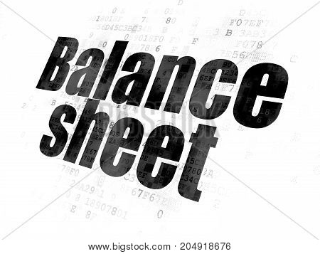 Currency concept: Pixelated black text Balance Sheet on Digital background