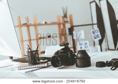 Workspace With Photo Camera