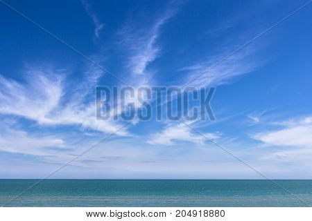 Emerald sea and sky background, space for text.