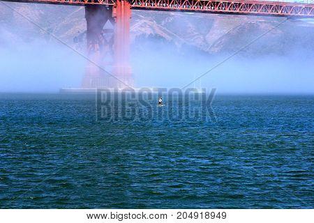 Beautiful Yacht In San Francisco Bay, Golden Gate Bridge On The Horizon. California, Usa