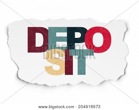 Money concept: Painted multicolor text Deposit on Torn Paper background