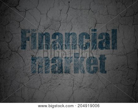 Currency concept: Blue Financial Market on grunge textured concrete wall background