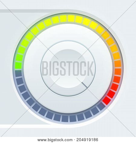 Media user interface design with round volume tumbler and colorful scale on light background isolated vector illustration