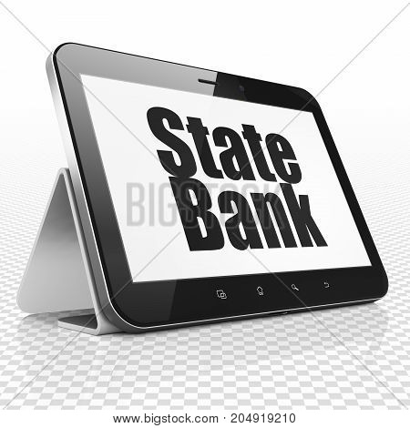 Money concept: Tablet Computer with black text State Bank on display, 3D rendering
