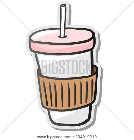 Paper coffee cup sticker, take away, vector illustration