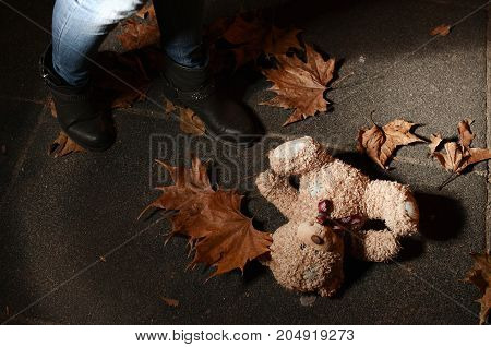 Abbandoned Teddy bear in leaves in the autumn night park