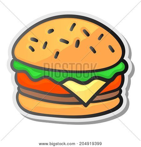 Burger sticker, isolated background. Graphic design element for menu, packaging, advertising, poster, brochure, vector illustration.