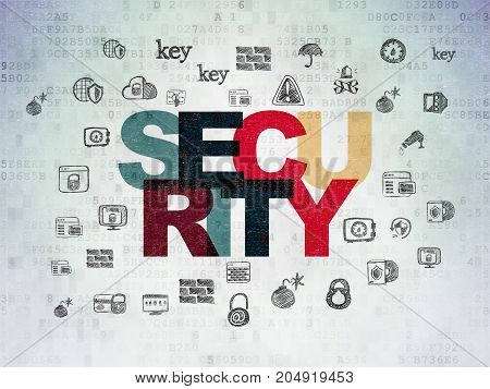 Protection concept: Painted multicolor text Security on Digital Data Paper background with  Hand Drawn Security Icons