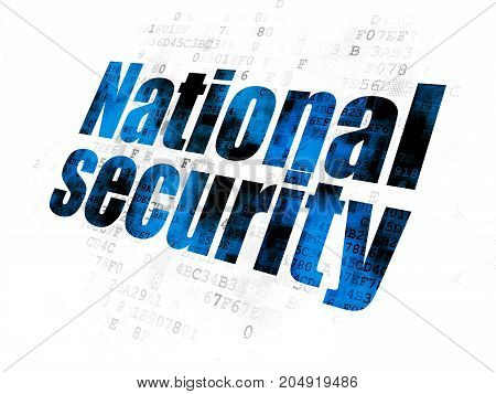 Security concept: Pixelated blue text National Security on Digital background