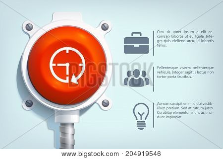 Web business infographic template with text icons and red round button on metal pole isolated vector illustration