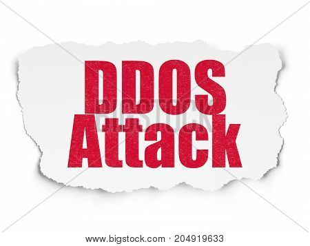 Safety concept: Painted red text DDOS Attack on Torn Paper background with Scheme Of Hexadecimal Code