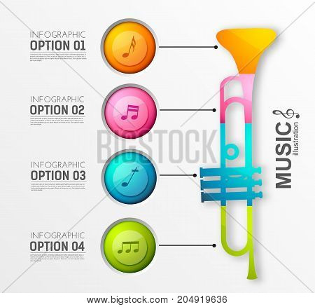 Music instrument infographic template with four circles trumpet and musical notes on light background vector illustration