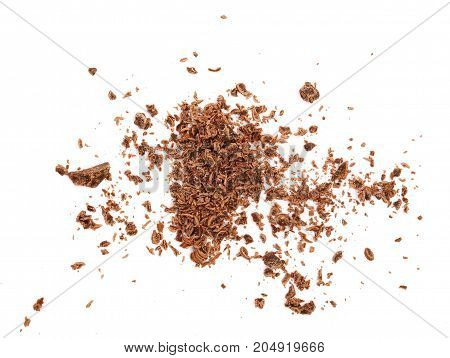 grated chocolate isolated on white background. Top view.
