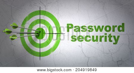 Success privacy concept: arrows hitting the center of target, Green Password Security on wall background, 3D rendering