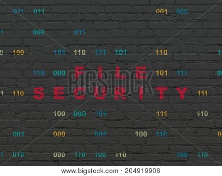 Protection concept: Painted red text File Security on Black Brick wall background with Binary Code