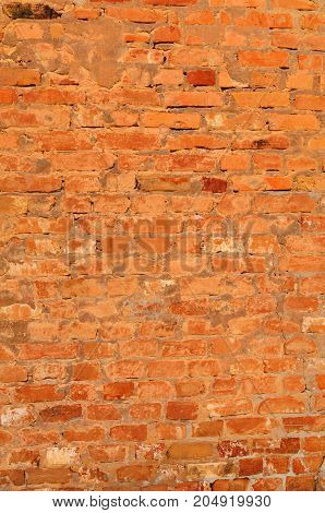 Old Vintage Red Brick Wall With Cement Seams Texture Background