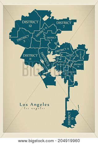 Modern City Map - Los Angeles City Of The Usa With Boroughs And Titles
