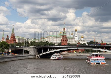 Pleasure Boats Sails Along The Moscow River.