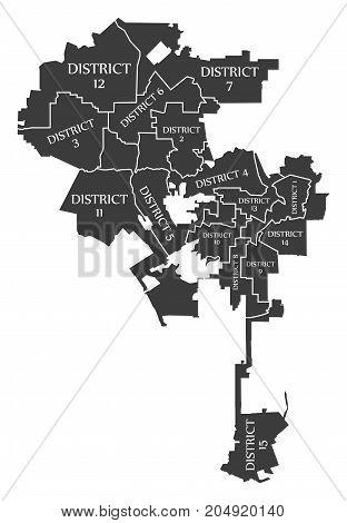 Los Angeles City Map Usa Labelled Black Illustration