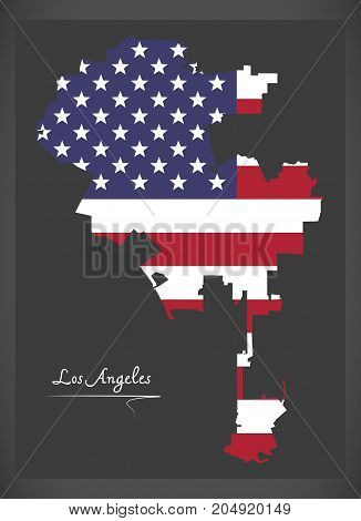 Los Angeles Map With American National Flag Illustration