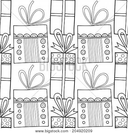 Gift boxes with decors, ornaments for coloring books. Black and white illustration, seamless pattern. Vector illustration