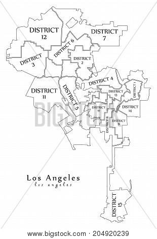 Modern City Map - Los Angeles City Of The Usa With Boroughs And Titles Outline Map