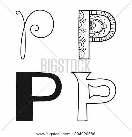 Decorative letters of the alphabet. Lettering for design, scrapbooking, digital stamps. Vector illustration