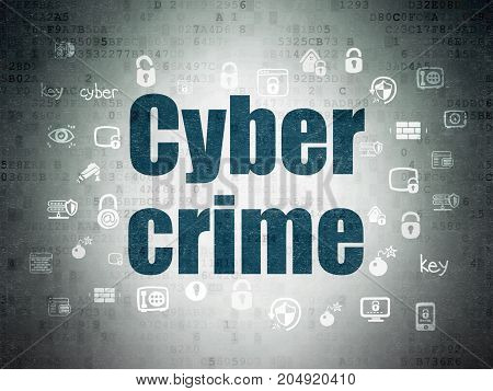 Protection concept: Painted blue text Cyber Crime on Digital Data Paper background with  Hand Drawn Security Icons