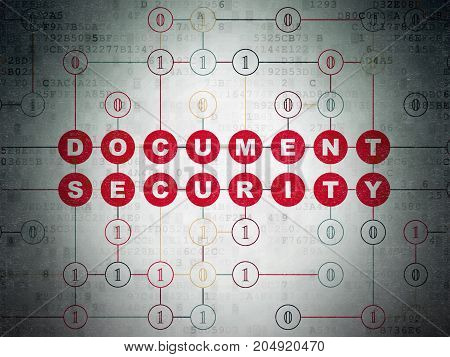 Security concept: Painted red text Document Security on Digital Data Paper background with Binary Code