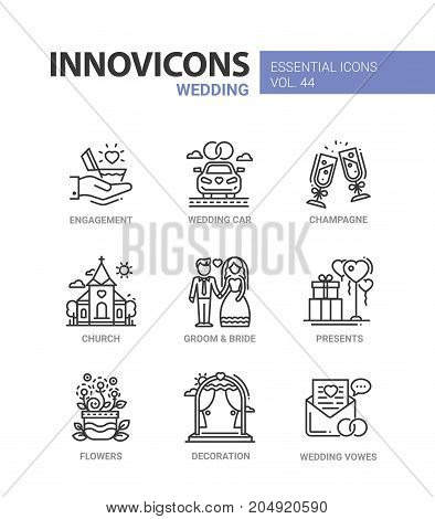 Wedding - modern vector line design icons set. Engagement, car, heart, ring, champagne, glass, church, groom, bride, present, balloon, flower vase, decoration, vow. Have a happy family