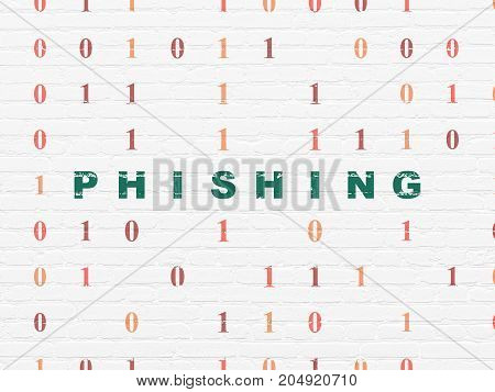 Security concept: Painted green text Phishing on White Brick wall background with Binary Code