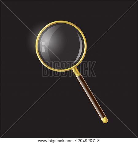 Magnifying glass - modern vector realistic isolated object illustration on black background. High quality clip art. Golden and brown hand loupe, enlarging lens, reader as a symbol of search