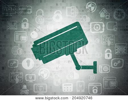 Privacy concept: Painted green Cctv Camera icon on Digital Data Paper background with Scheme Of Hand Drawn Security Icons