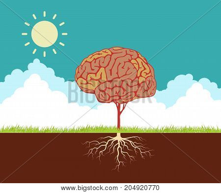 Flat design vector concept illustration with brain