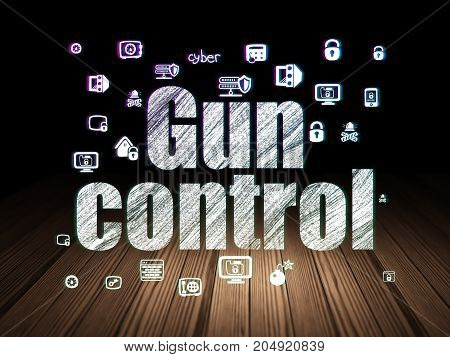 Privacy concept: Glowing text Gun Control,  Hand Drawn Security Icons in grunge dark room with Wooden Floor, black background