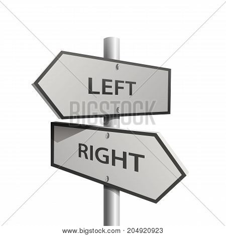 Post arrow left and right on the white background. Vector illustration