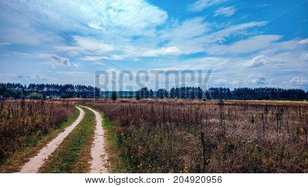 Summer country road and fields on the background of the blue beautiful cloudy sky and beautiful forest. Distance of highway.