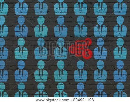 Business concept: rows of Painted blue business man icons around red calculator icon on Black Brick wall background