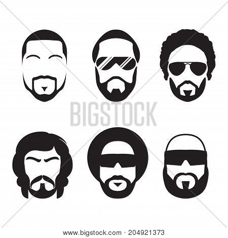Set of bearded hipster men faces. Mustaches and Beards. Vector Illustration.