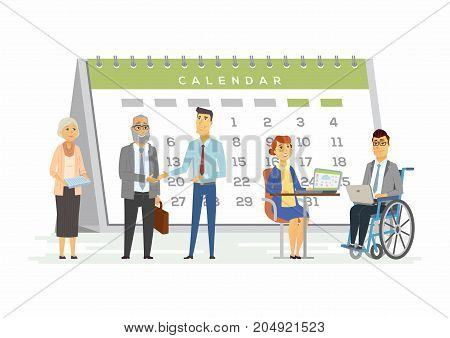 Teamwork for business metaphor - modern cartoon people characters illustration with smiling people of all age, genders and abilities with a big calendar behind. A man sitting in a wheelchair