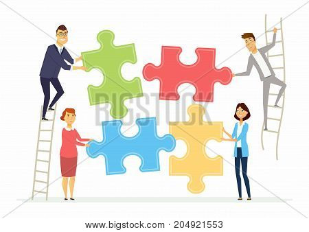 Teamwork and cooperation for business - modern cartoon people characters illustration with smiling colleagues putting puzzle pieces together. Men standing on a ladder. Creative concept of team building