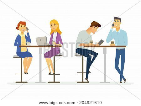 Collegues on a lunch break - modern cartoon people characters illustration. A group of cheerful men and women sitting at the table, talking on the phone, drinking coffee, chatting online and relaxing