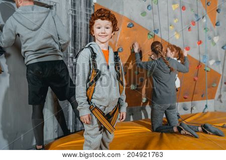 Boy In Climbing Harness At Gym