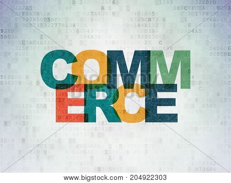 Business concept: Painted multicolor text Commerce on Digital Data Paper background