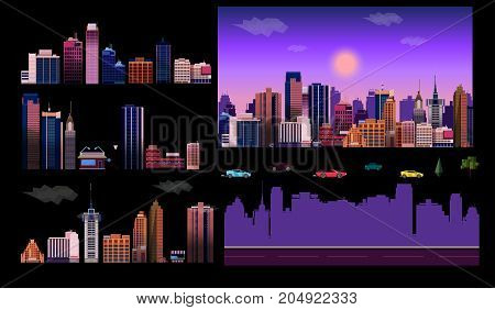 Constructor for night city background. Easy to create your own view of the city, with separate elements - buildings, road, cars, background. Illustration is vector and prepared in modern flat style. poster