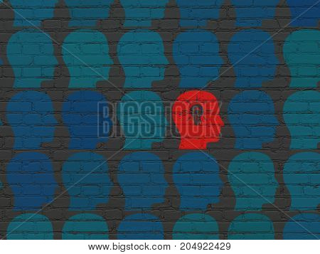 Business concept: rows of Painted blue head icons around red head with light bulb icon on Black Brick wall background