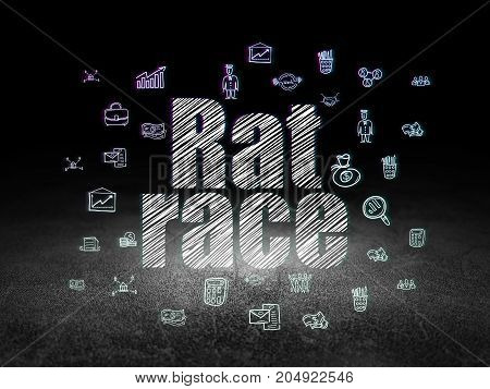 Business concept: Glowing text Rat Race,  Hand Drawn Business Icons in grunge dark room with Dirty Floor, black background
